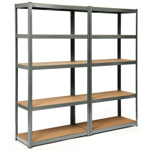 2 Pcs Storage Shelves Garage Shelving Units Tool Utility Shelves-Gray