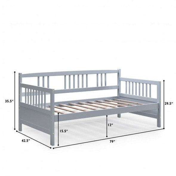 Twin Size Wooden Slats Daybed Bed with Rails-Gray