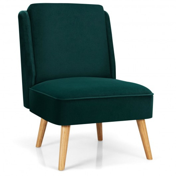 Velvet Accent Chair with Rubber Wood Legs for Living Room-Green