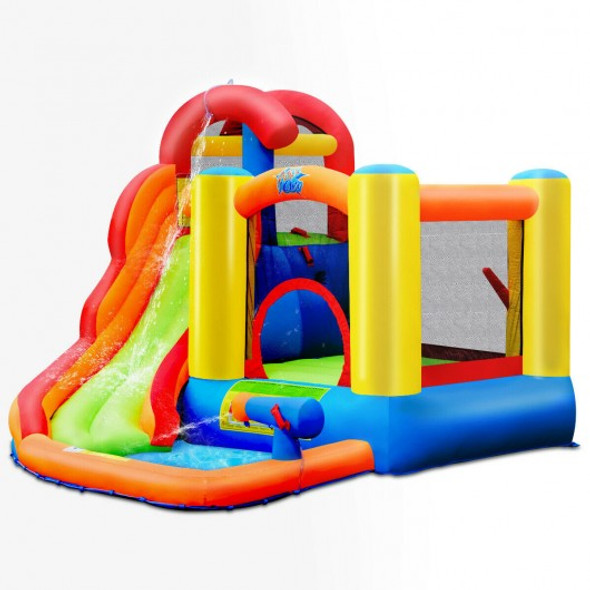 Inflatable Water Slide Bounce House with Pool and Cannon without Blower