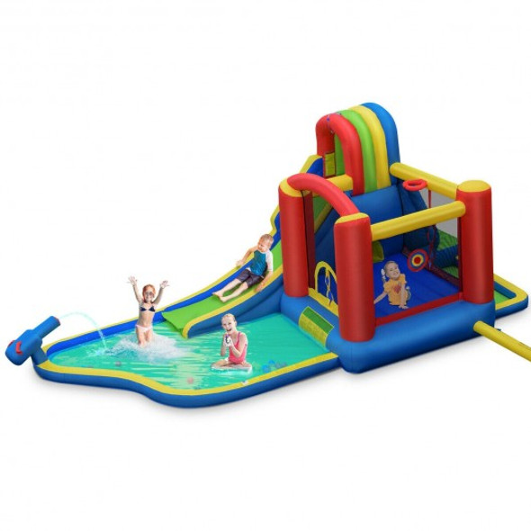 Inflatable Kid Bounce House Slide Climbing Splash Park Pool Jumping Castle without Blower