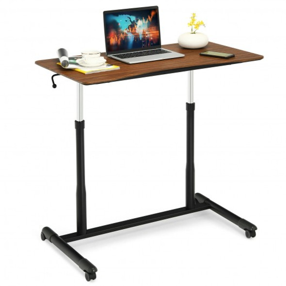 Height Adjustable Computer Desk Sit to Stand Rolling Notebook Table -Brown