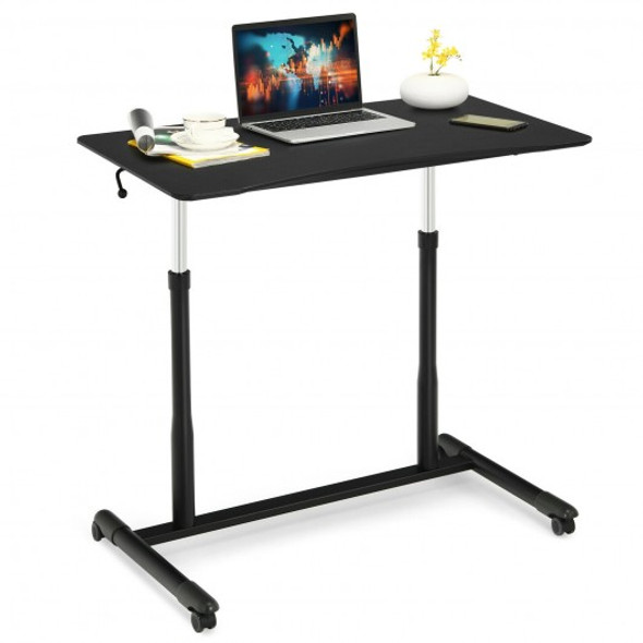 Height Adjustable Computer Desk Sit to Stand Rolling Notebook Table -Black