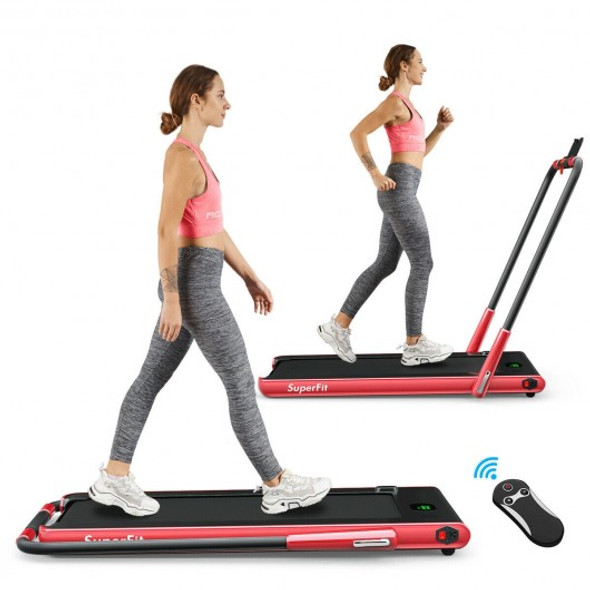 2-in-1 Folding Treadmill with RC Bluetooth Speaker LED Display-Red