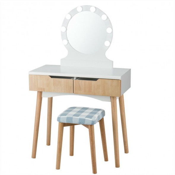 Dressing Table with Large Round Mirror and 8 Light Bulbs for Bedroom-Natural