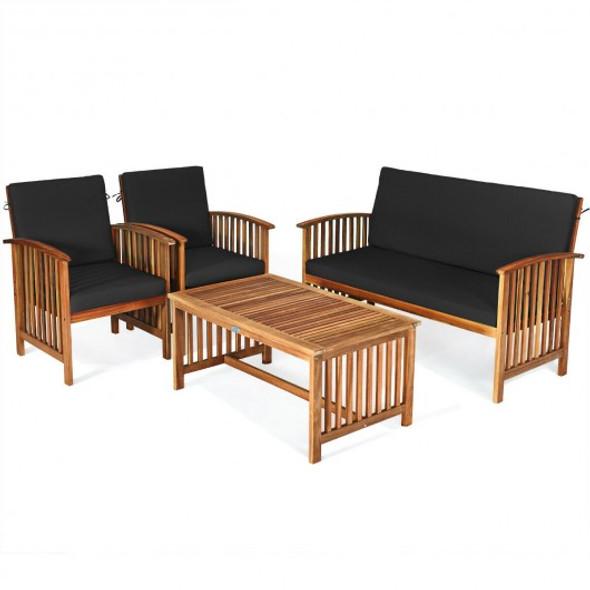 4PCS Patio Solid Wood Furniture Set-Black