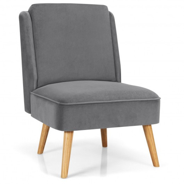 Velvet Accent Chair with Rubber Wood Legs for Living Room-Gray