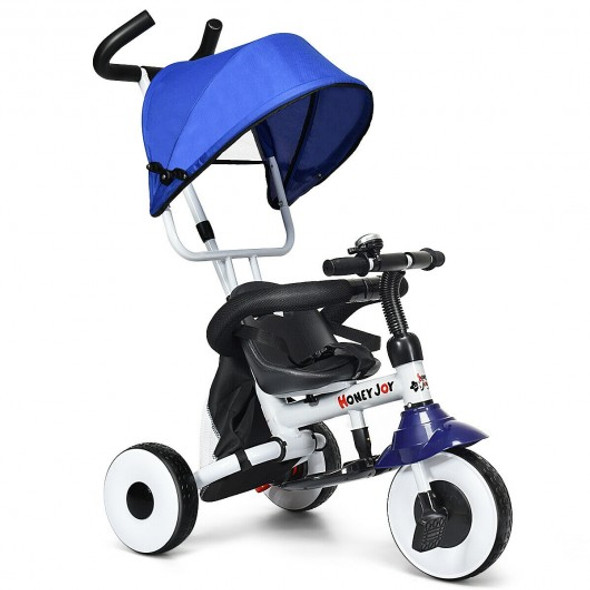 4-in-1 Kids Baby Stroller Tricycle Detachable Learning Toy Bike-Blue