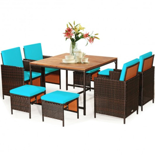 9PCS Patio Rattan Dining Cushioned Chairs Set-Turquoise