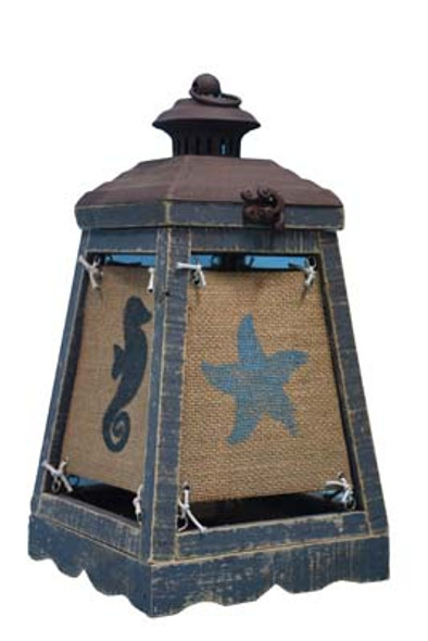 Cape Lantern Blue Accent Lamp with Coastal Icons