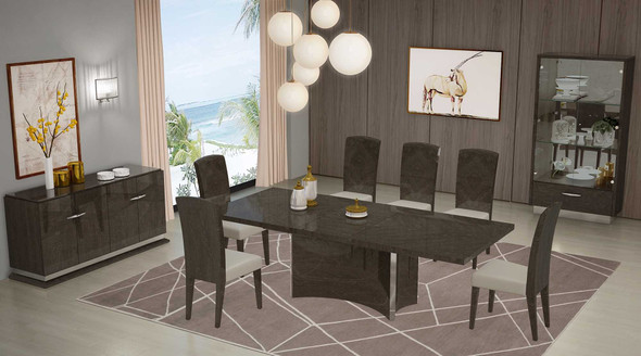 """57"""" X 64.5"""" X 130.5"""" Gray Dining Table and 6Pcs Chair Set"""