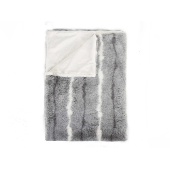 """50"""" x 60"""" Dayton Grey White Black Fur Throw"""