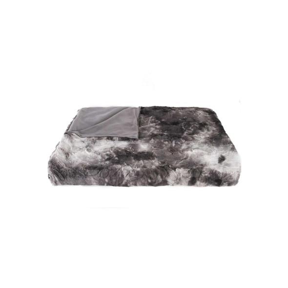 "50"" x 60"" Naples Charcoal Grey Fur Throw"