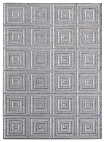 "118"" x 158"" Blue / Grey Polyester / Olefin Oversize Rug"