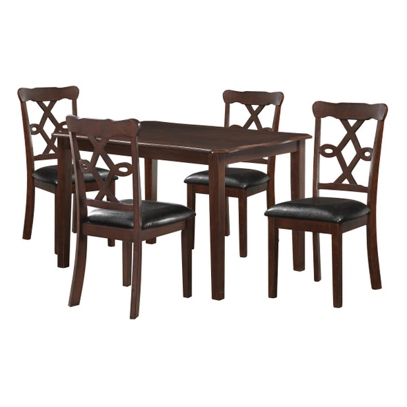 """47"""" X 36"""" 5Pc Black Leatherette And Espresso Dining Set"""