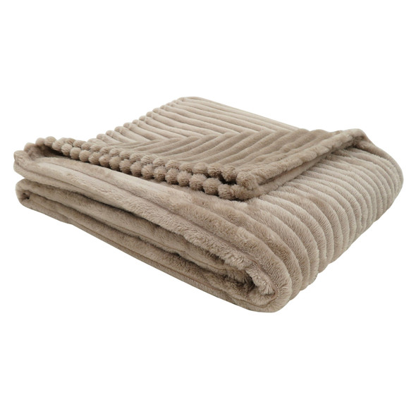 """50"""" x 60"""" Beige Ultra Soft Ribbed Style Throw"""