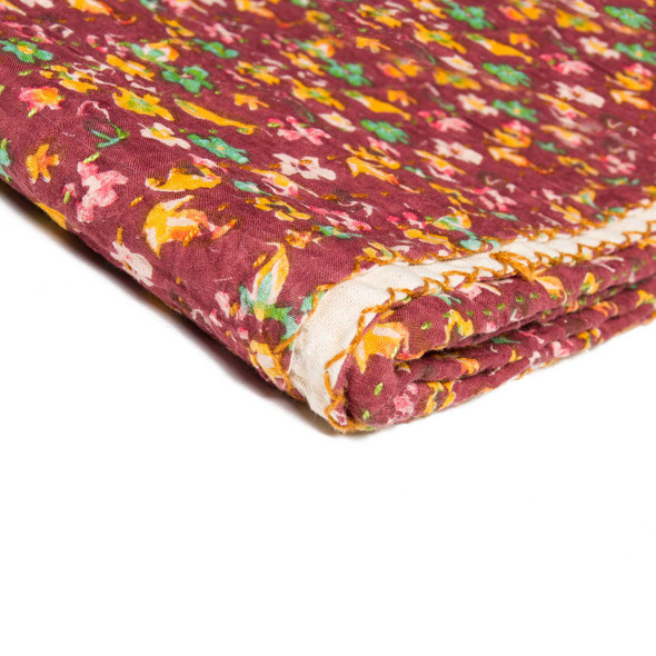 "50"" x 70"" Maroon Kantha Cotton Throw Blanket"