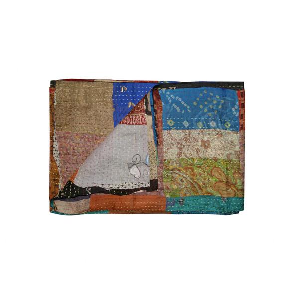 "60"" x 90"" Multicolor Kantha Silk Throw Quilt Blanket"