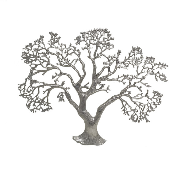 "1"" x 27.5"" x 22"" Rough Silver Tree Wall Sculpture"