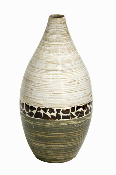 """10"""" X 10"""" X 20"""" Distressed White And Green W/ Coconut Shell Bamboo Spun Bamboo Vase"""
