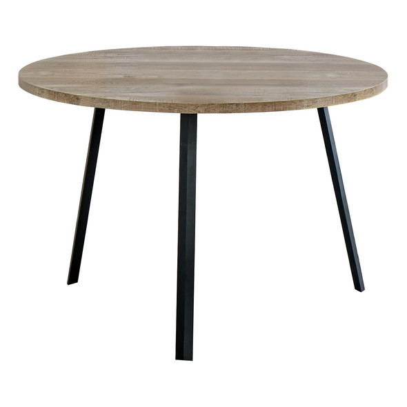 """48"""" Round Dining Room Table with Taupe Reclaimed Wood and Black Metal"""