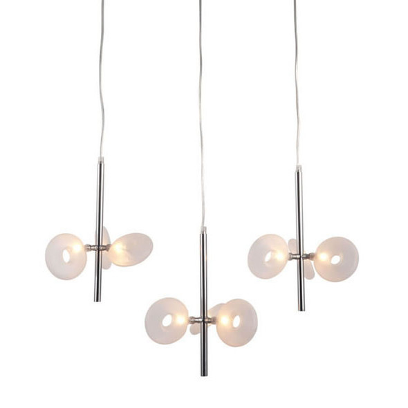 """26.4"""" x 21.7"""" x 59"""" Chrome, Frosted Glass, Ceiling Lamp"""