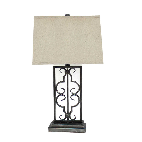 """5.5"""" x 9.25"""" x 28.75"""" Gray, Industrial With Stacked Metal Pedestal - Table Lamp"""