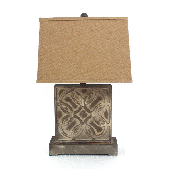 """4.75"""" x 11.75"""" x 24.75"""" Brown, Vintage with Khaki Linen Shade - Table Lamp"""