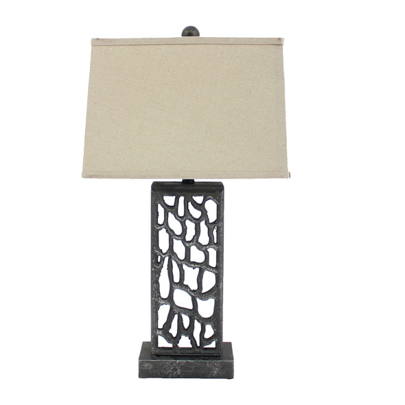 """5"""" x 8"""" x 28.75"""" Silver, Metal With Multi Mini Grotto Pattern - Table Lamp"""