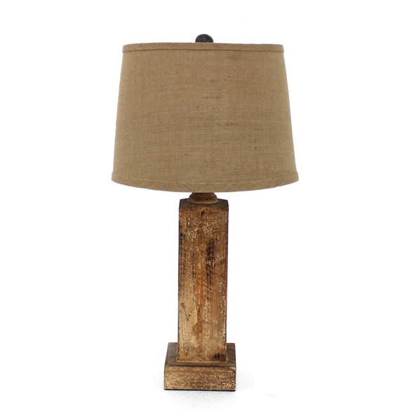 """5.5"""" x 5.5"""" x 27"""" Brown, Rustic with Round Linen Shade - Table Lamp"""