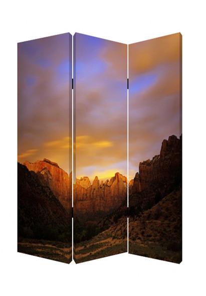 "1"" x 48"" x 72"" Multi Color Wood Canvas Desert Screen"