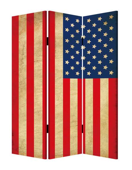 "1"" x 48"" x 72"" Multi Color Wood Canvas American Flag Screen"