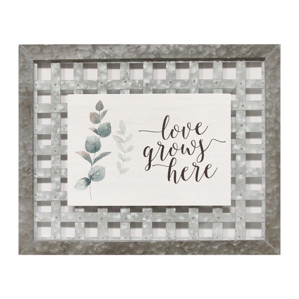 """""""Love Grows Here"""" Woven Galvanized Metal Wall Decor"""