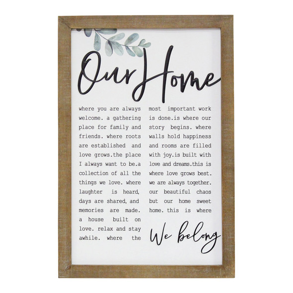"""""""Our Home"""" Metal amp; Wood Framed Wall Art"""