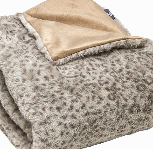 Premier Luxury Spotted Taupe and Brown Faux Fur Throw Blanket