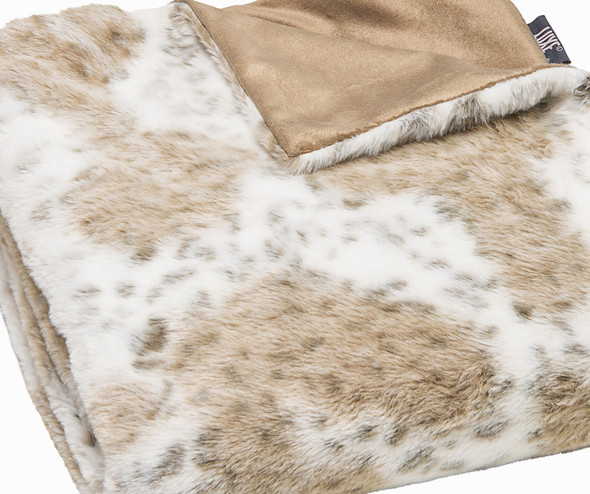 Premier Luxury Spotted White and Brown Faux Fur Throw Blanket