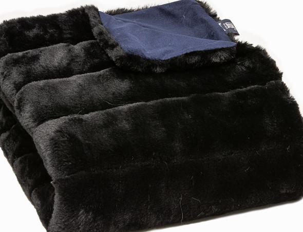 Premier Luxury Onyx Stripe Faux Fur Throw Blanket