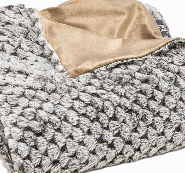 Premier Luxury Cocoa and White Faux Fur Throw Blanket