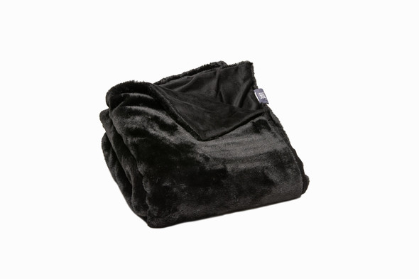 Premier Luxury Black Super Soft Faux Fur Throw Blanket
