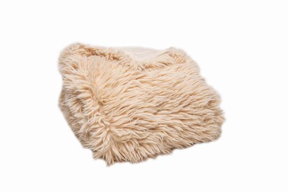 Chunky Flokati Faux Wool Off White Throw Blanket