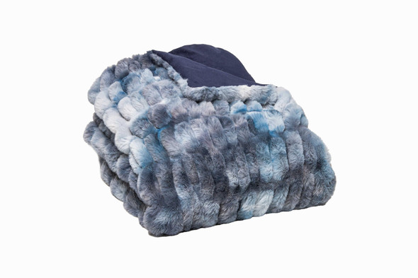 Chunky Sectioned Shades of Blue Faux Fur Throw Blanket
