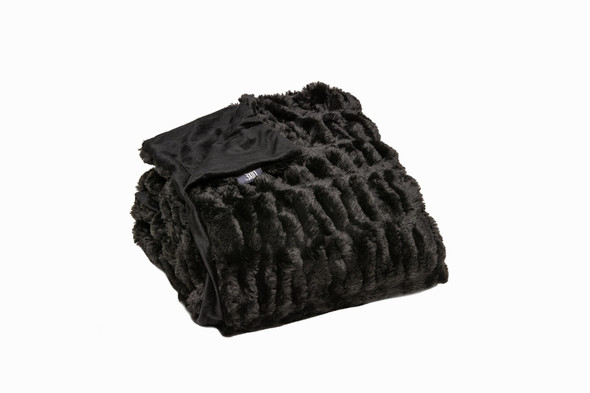 Chunky Sectioned Black Faux Fur Throw Blanket