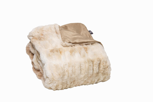 Chunky Sectioned Shades of Beige Faux Fur Throw Blanket