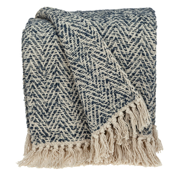 Navy and Cream Herringbone Throw Blanket