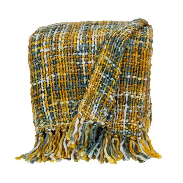 Boho Yellow and Gray Basketweave Throw Blanket