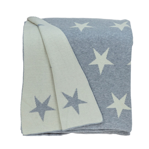 Gray and White Stars Knitted Throw Blanket