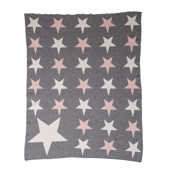 Grey Ivory and Pink Stars Knitted Baby Blanket