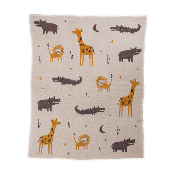Zoo Animals Woven Knitted Baby Blanket
