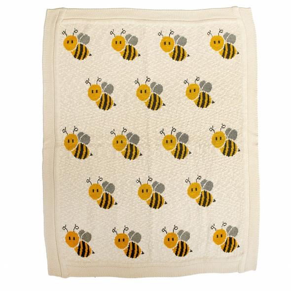 Ivory Honeybee Knitted Baby Blanket