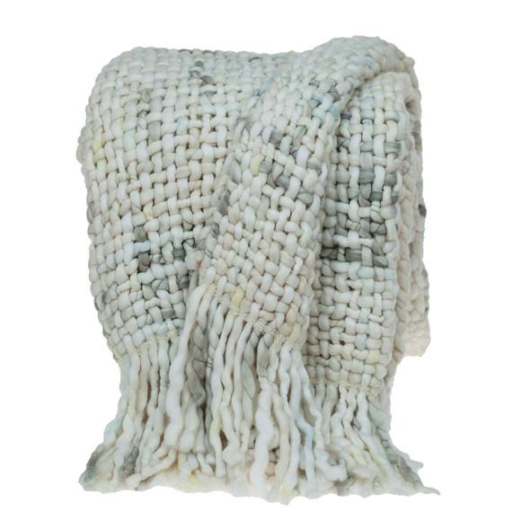 Boho Neutral Basketweave Throw Blanket